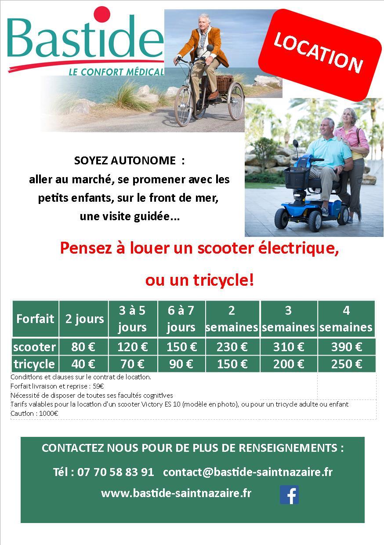 Location de sccooters et tricycles tarifs